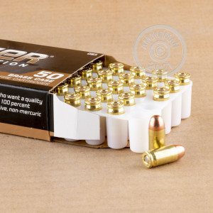 A photograph of 50 rounds of 95 grain .380 Auto ammo with a FMJ bullet for sale.