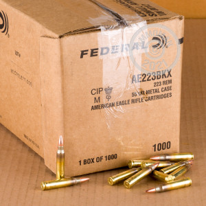 A photograph of 1000 rounds of 55 grain 223 Remington ammo with a FMJ-BT bullet for sale.
