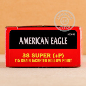 A photograph of 50 rounds of 115 grain 38 Super ammo with a JHP bullet for sale.