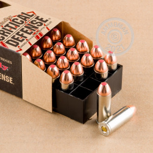 Image detailing the nickel-plated brass case and boxer primers on the Hornady ammunition.