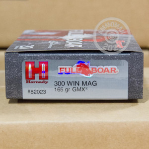 Image of 300 Winchester Magnum ammo by Hornady that's ideal for hunting wild pigs.