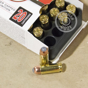 A photograph detailing the 38 Super ammo with JHP bullets made by Corbon.