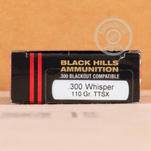 A photo of a box of Black Hills Ammunition ammo in 300 AAC Blackout.