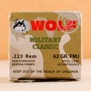 Image of the 223 REM WOLF MILITARY CLASSIC 62 GRAIN FMJ (20 ROUNDS) available at AmmoMan.com.