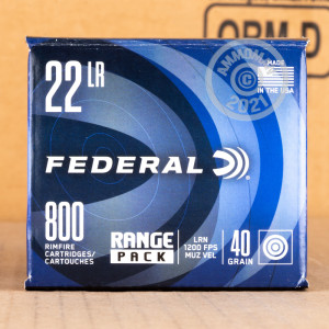A box of Federal ammo in .22 Long Rifle that's often used for training at the range.