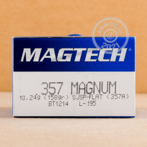 A photograph detailing the 357 Magnum ammo with Semi-Jacketed Soft-Point (SJSP) bullets made by Magtech.
