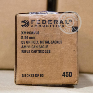 Image of 5.56x45MM - FEDERAL 55 GRAIN FMJ-BT XM193 (450 ROUNDS)
