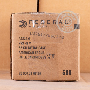 Photograph showing detail of 223 REM FEDERAL AMERICAN EAGLE MILITARY GRADE 55 GRAIN FMJBT (500 ROUNDS)