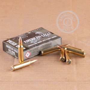 Photo detailing the 223 REM FEDERAL AMERICAN EAGLE MILITARY GRADE 55 GRAIN FMJBT (500 ROUNDS) for sale at AmmoMan.com.