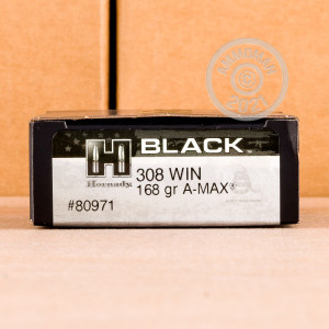 Image of 308 WIN HORNADY BLACK 168 GRAIN A-MAX (20 ROUNDS)