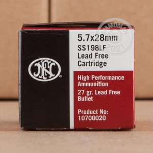 Image of 5.7 x 28 ammo by FN Herstal that's ideal for home protection, hunting varmint sized game, shooting indoors, training at the range.