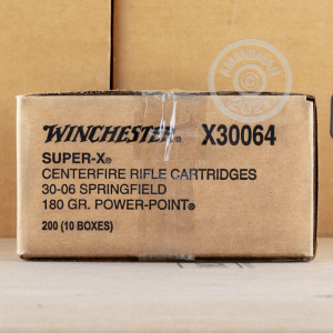 A photograph of 200 rounds of 180 grain 30.06 Springfield ammo with a Power-Point (PP) bullet for sale.
