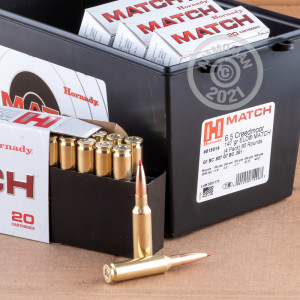 Photo detailing the 6.5 CREEDMOOR HORNADY MATCH 147 GRAIN ELD MATCH (80 ROUNDS IN FIELD BOX) for sale at AmmoMan.com.