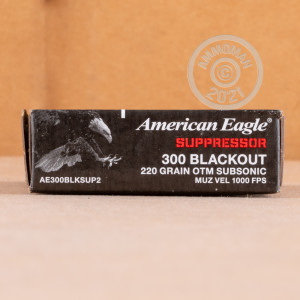 Photograph showing detail of 300 AAC BLACKOUT AMERICAN EAGLE SUPPRESSOR 220 GRAIN OTM (20 ROUNDS)