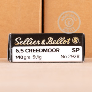 Photo detailing the 6.5 CREEDMOOR SELLIER & BELLOT 140 GRAIN SOFT POINT (500 ROUNDS) for sale at AmmoMan.com.