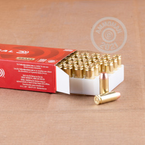 A photograph detailing the 10mm ammo with FMJ bullets made by Federal.