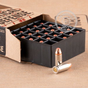 A photograph detailing the .25 ACP ammo with flex tip technology bullets made by Hornady.