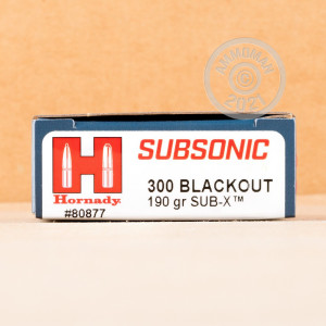 Photograph showing detail of 300 AAC BLACKOUT HORNADY SUBSONIC 190 GRAIN SUB-X (20 ROUNDS)