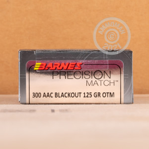 A photo of a box of Barnes ammo in 300 AAC Blackout.