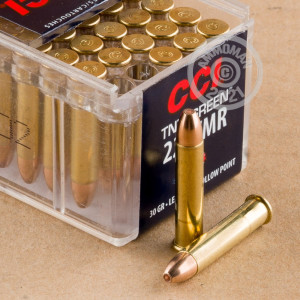 Photograph of .22 WMR ammo with HP ideal for hunting varmint sized game.