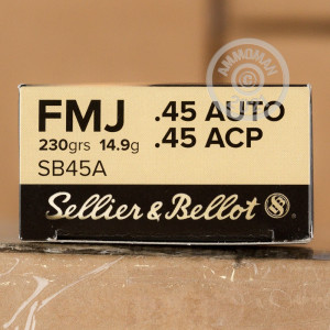 Image of .45 Automatic ammo by Sellier & Bellot that's ideal for training at the range.