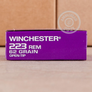 Photograph showing detail of 223 REM WINCHESTER DHS PURPLE CASING 62 GRAIN OT (1000 ROUNDS)