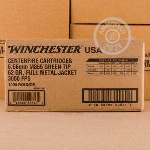 Photo detailing the 5.56X45 WINCHESTER USA 62 GRAIN FMJ M855 (1000 ROUNDS) for sale at AmmoMan.com.