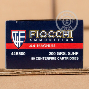 Photo of 44 Remington Magnum semi-jacketed hollow-Point (SJHP) ammo by Fiocchi for sale at AmmoMan.com.