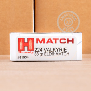 Photograph showing detail of 224 VALKYRIE HORNADY 88 GRAIN ELD MATCH (200 ROUNDS)