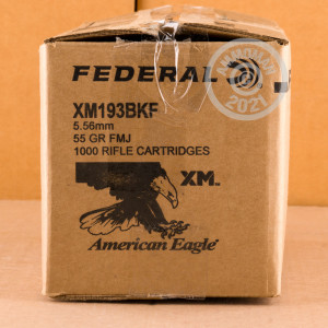 Image of the 5.56X45 FEDERAL AMERICAN EAGLE 55 GRAIN FMJ XM193 (1000 ROUNDS) available at AmmoMan.com.