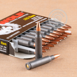 Photograph showing detail of 223 REM WOLF 55 GRAIN FMJ STEEL CASE (1000 ROUNDS)