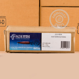 An image of 223 Remington ammo made by Australian Defense Industries at AmmoMan.com.
