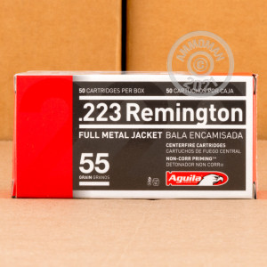 A photo of a box of Aguila ammo in 223 Remington.