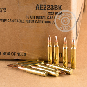 Image of the 223 Rem FEDERAL AMERICAN EAGLE  55 GRAIN FMJBT (1000 ROUNDS) available at AmmoMan.com.