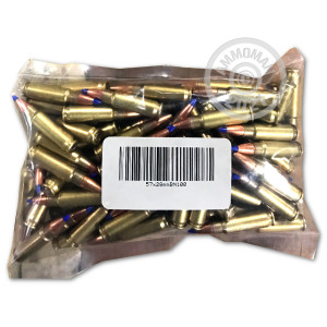 A photograph of 100 rounds of Not Applicable 5.7 x 28 ammo with a Unknown bullet for sale.