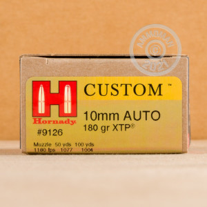 Photo of 10mm JHP ammo by Hornady for sale at AmmoMan.com.