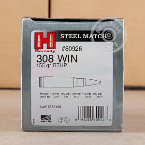 Photo of 308 / 7.62x51 Hollow-Point Boat Tail (HP-BT) ammo by Hornady for sale.