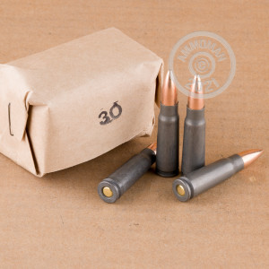 Image of bulk 7.62 x 39 ammo by Wolf that's ideal for training at the range.