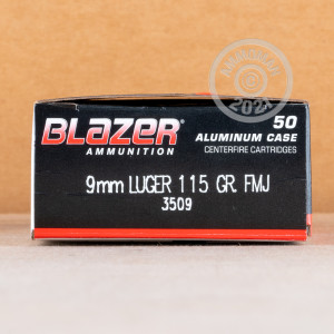 Photo of 9mm Luger FMJ ammo by Blazer for sale at AmmoMan.com.