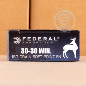 Photo of 30-30 Winchester Jacketed Soft-Point (JSP) ammo by Federal for sale.