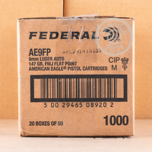 A photograph detailing the 9mm Luger ammo with full metal jacket flat-point bullets made by Federal.