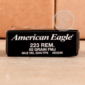 Photo detailing the 223 REMINGTON FEDERAL AMERICAN EAGLE 55 GRAIN FMJ (500 ROUNDS) for sale at AmmoMan.com.