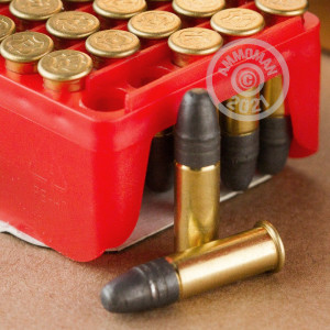 rounds of .22 Long Rifle ammo with Lead Round Nose (LRN) bullets made by RWS.