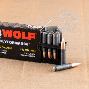 Image of the 300 AAC BLACKOUT WOLF 145 GRAIN FMJ (20 ROUNDS) available at AmmoMan.com.