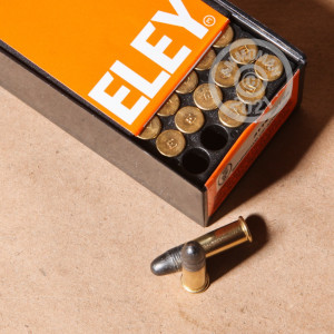 rounds of .22 Long Rifle ammo with Lead Round Nose (LRN) bullets made by Eley.
