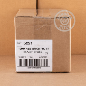A photo of a box of Blazer Brass ammo in 10mm.