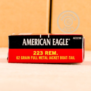Photo detailing the 223 REMINGTON FEDERAL AMERICAN EAGLE 62 GRAIN FMJBT (500 ROUNDS) for sale at AmmoMan.com.