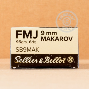 An image of 9x18 Makarov ammo made by Sellier & Bellot at AmmoMan.com.