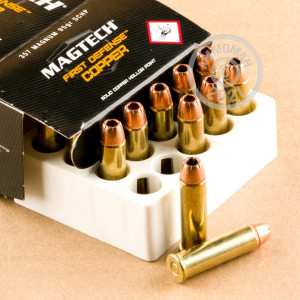 Image of 357 Magnum ammo by Magtech that's ideal for home protection.