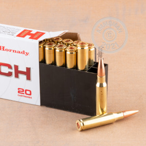 A photograph detailing the 308 / 7.62x51 ammo with Open Tip Match bullets made by Hornady.